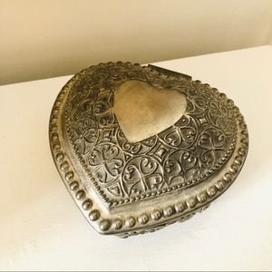 Vintage large heavy silver tone heart jewelry box
